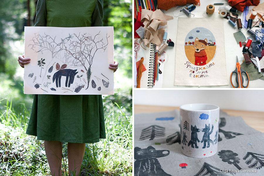 Fabric collage e linocut