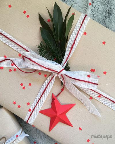 pacchetto nastro cotone e stella carta