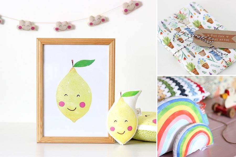Cuscino limone e arcobaleno
