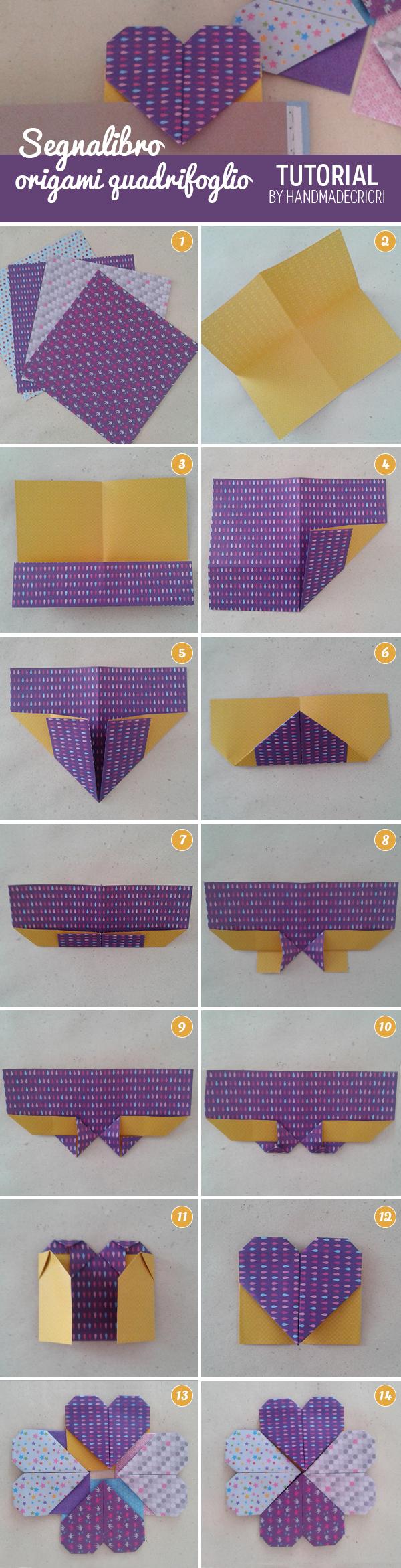 foto tutorial origami quadrifoglio