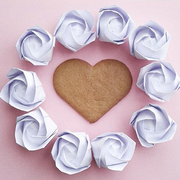 origami rosa cuore